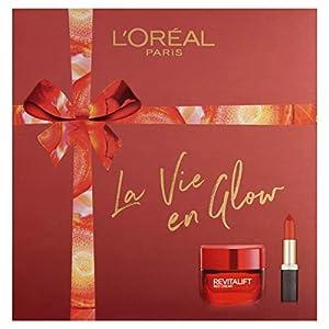 L'Oreal Paris La Vie En Glow Crema Hidratante y Lápiz Labial Maquillaje Cuidado de la Piel Set de Regalo para Mujer