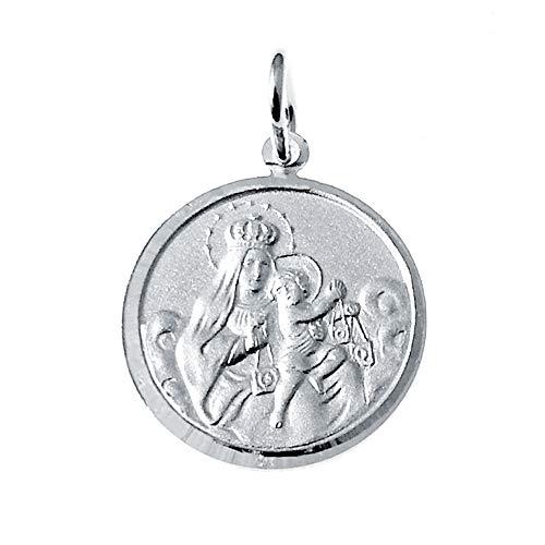 Iyé Biyé Jewels - Medalla Escapulario Redonda 22 Mm Corazón de Jesús - Virgen del Carmen Plata de Ley 925 Reasa