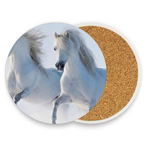 Zwei weiße Pferde runde saugfähige Keramik Stein Getränkeuntersetzer Kaffeetassen Matten Set für Home Office Bar Küche (Set von 1 Stück), keramik, multi, 1 Stück (Halloween 2 Weißen Pferd)