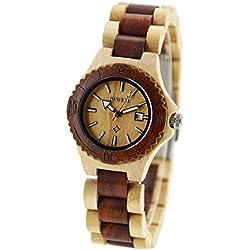 ideashop® Fashion & Casual handgemachte rot und weiß natur Sandelholz relogio Masculino Damen-Uhren Datum Kalender Sandale Holz Quarzuhr Armbanduhr Japan Quarz-Uhrwerk Geschenk