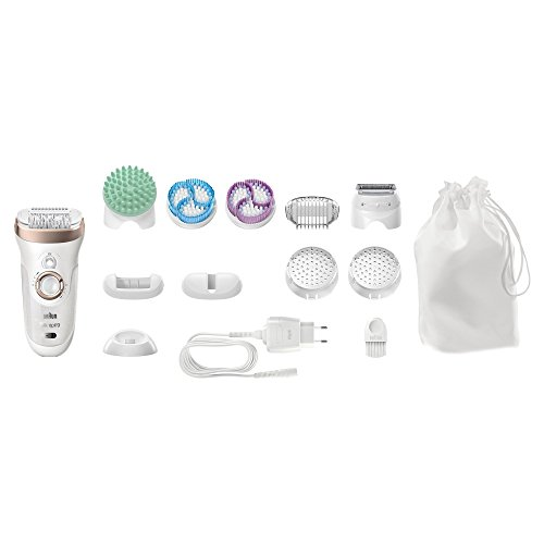 Braun Silk Epil 9-961v Women's Skin Spa Wet and Dry Cordless Epilator with 12 Extras Including Bonus Body Exfoliator and Massage Attachments