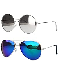 9eac695d67d Younky Combo Of 2 UV Protected Round And Aviator Unisex Sunglasses(Cmynk-01-