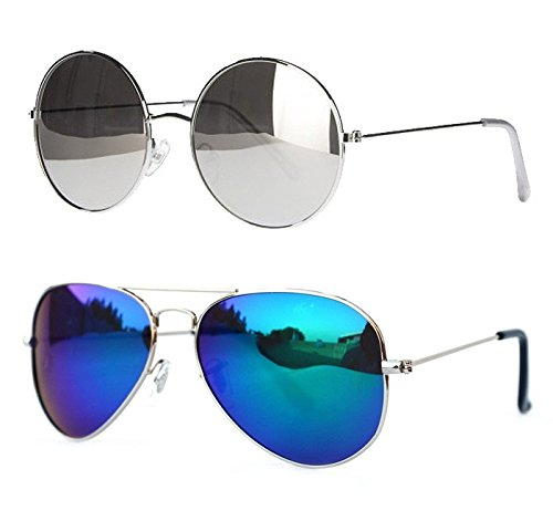 Younky Combo UV Protected Aviator Unisex Sunglasses (RS-BM 55 Multicolour) - 2 Boxes