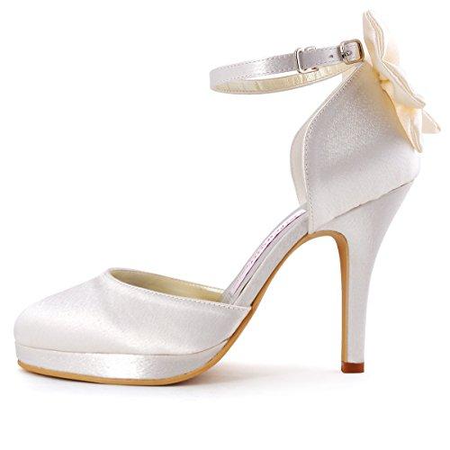 Elegantpark AJ091-PF Satin Stiletto Runde Geschlossene Zehen Plateau Pumps Damen Hochzeit Brautschuhe Ivory