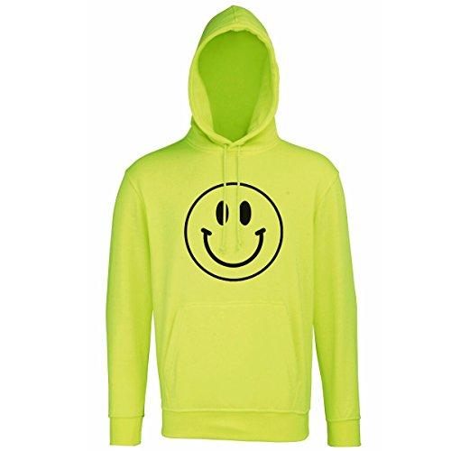 Smiley Face Neon Hoodie, 90s rave, acid house, happy hardcore, techno, sizes S-2XL