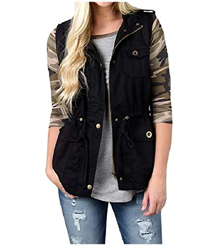 CuteRose Women Jackets Stand Up Collar Sweatshirts Waistcoat with Zipper Black XS - Outdoor Research-womens Vest