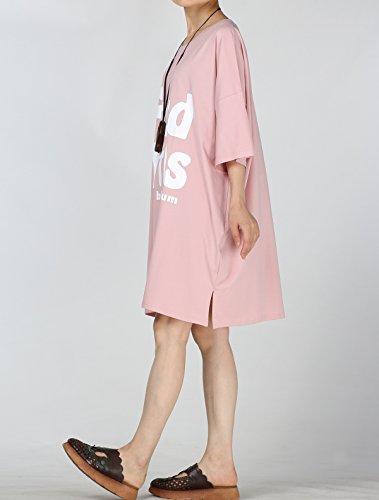 Vogstyle Damen Sommer Plus Größen T-Shirt Kleid Bedruckte Tunika Oberseiten Rosa