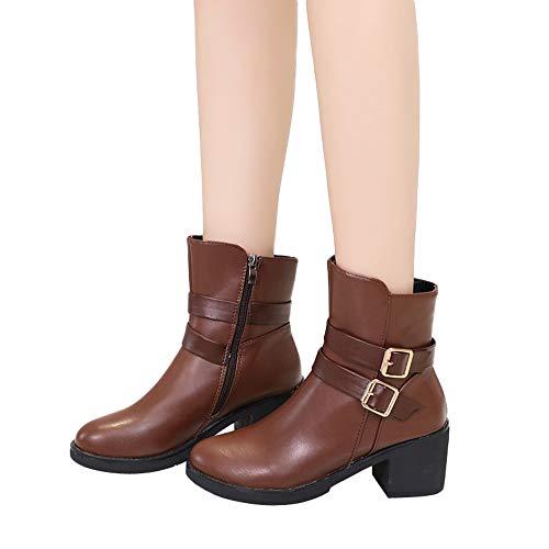 OSYARD Damen Kunstleder Reissverschluss Schuhe Schnalle Leder Stiefeletten Kurz Stiefel Chelsea Boots, Wedges Buckle Strap Leder Middle Boots Stiefel Schuhe Ankle Boot (230/37, Braun)