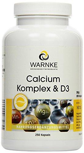 Preisvergleich Produktbild Warnke Gesundheitsprodukte Calcium Komplex und D, mit Calcium, Magnesium und Vitamin D3, 250 Kapseln, Großpackung, vegi, 1er Pack (1 x 292 g)
