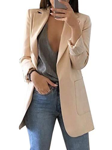 Minetom Femme Blazer Élégant Manches Longues Slim Fit OL Bureau Affaires Veste De Costume Devant Ouvert Manteau Cardigan Blouson Jack