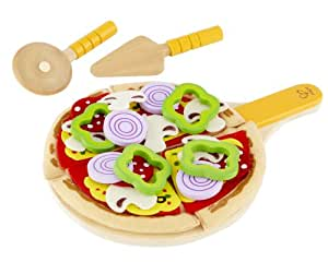 Hape - E3129 - Jeu d'Imitation en Bois - Cuisine - Kit Pizza