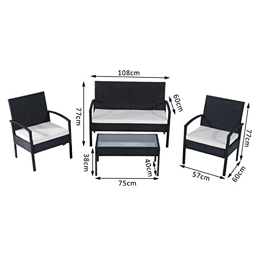 Outsunny Rattan Garden Furniture 4 Pcs Sofa Set Outdoor Patio Wicker Weave Chairs Table