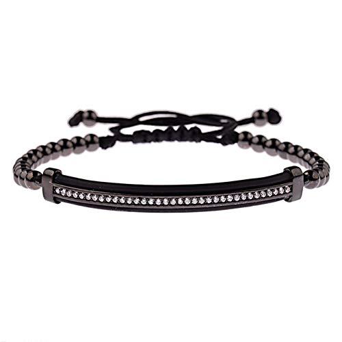Imagen de ygsvt pulsera classic luxury cz tubos largos de circón negro y cuentas de cobre de 4 mm macrame hombres pulseras y brazaletes para mujeres