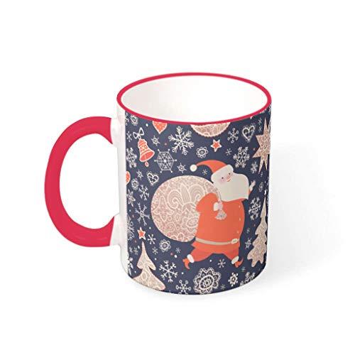 O2ECH-8 11 oz Christmas Flower Wasser Kaffee Becher Tasse mit Griff Porzellan Fun Becher - Mädchen Frauen Gegenwart, für Büro verwenden mred 330ml