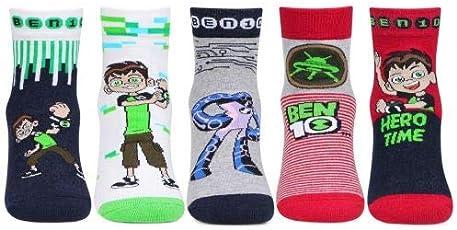 Kidzvilla Ben10 Ankle Length Designer Unisex Socks For Kids (Pack Of 5)