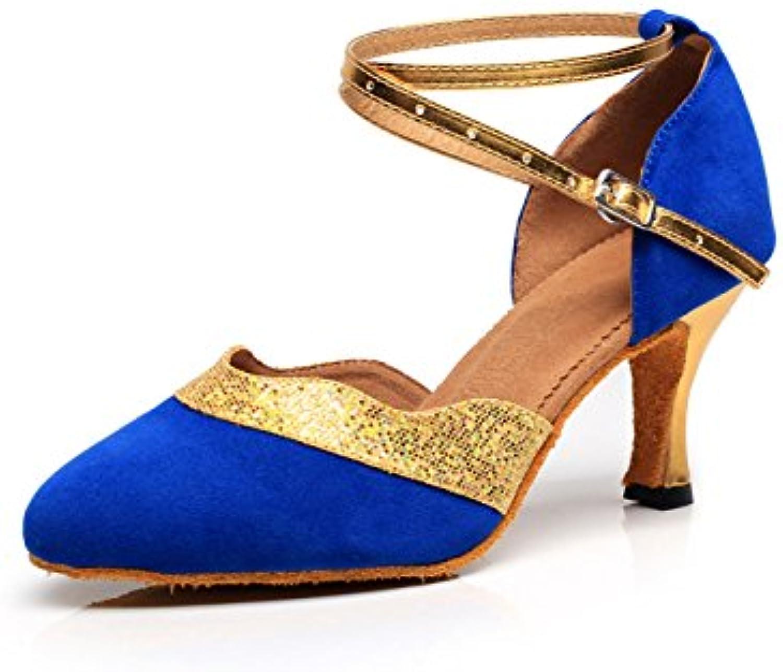 JSHOE Toe Wo  Latin Dance Fermé Toe JSHOE HeelSalsa / Tango / Chacha / Samba / Moderne / Jazz Chaussures  s,Blue-heeled7.5cm-UK4...B0798BV8NDParent ab54c5