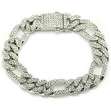 a1f506ee0038 YOLANDE 12mm Elegante Pulsera para Hombre Hip Hop Joyas Diamantes de  imitación de Cristal Diamantes Cubano