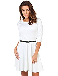 KRISP® Femmes Mini Robe Patineuse Manche 3/4 Elégante