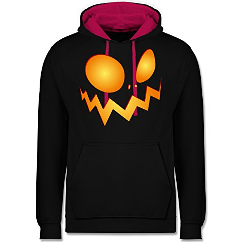 Shirtracer Halloween - Kürbisgesicht groß Pumpkin - S - Schwarz/Fuchsia - JH003 - Kontrast Hoodie