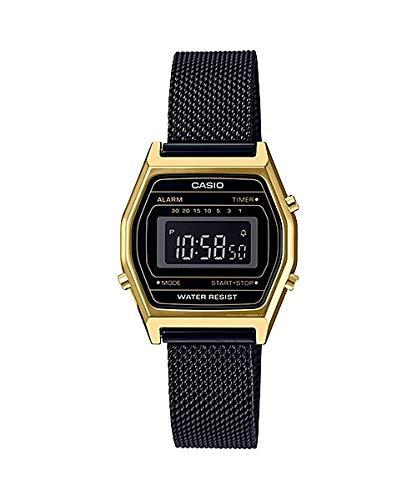 Casio LA690WEMB-1B - Reloj Digital con cronógrafo y Correa de Malla Negra para Mujer, Estilo Vintage, Color Dorado