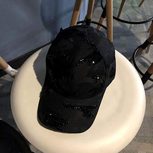 Weiblich Frankreich Kostüm - mlpnko Hut weiblich Mütze weiblich hell Baseballmütze weiblich wild Reisemütze Hut schwarz verstellbar