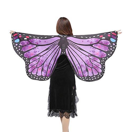 WOZOW Damen Schmetterling Flügel Kostüm Nymphe Pixie Umhang Faschingkostüme Schals Poncho Kostümzubehör Zubehör (Lila)