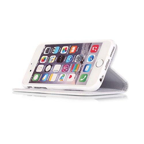 Mk Shop Limited [Coque iPhone 6S Plus] Fine Folio Wallet/Portefeuille en Bonne Qualité PU Cuir Housse pour iPhone 6S Plus Coque antichoc Gaufrage Motif avec Diamant Briller Bookstyle Flip Case Intérie Multi-couleur 15
