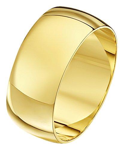 Theia Unisex Ehering 9 Karat Gelbgold, Sehr Massive D-Form, poliert, 9mm - Größe 49 (15.6) (Frauen Wedding-ring-gelb Gold)