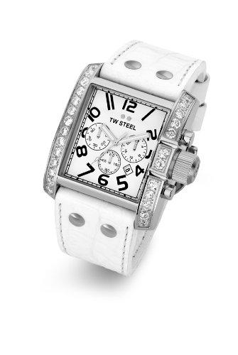 TW Steel TW-119W - Reloj cronógrafo unisex de cuarzo con correa de piel blanca (cronómetro) - sumergible a 30 metros