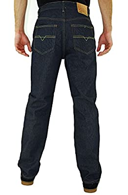 Kayden K Men's 2Tone Stitch Classic Fit Jeans Indigo Blue