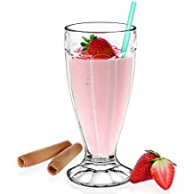 Milkshake Soda Glass 12oz / 340ml - Set of 6 | American Diner Style Milkshake Glass by Borgonovo