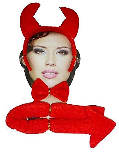 Damen Herren Halloween Klaue Hörner Sfx Kit Handschuhe Lack Maske Kap Makeup Latex Blut Perücke Zubehör (Teufel Zubehör Set)