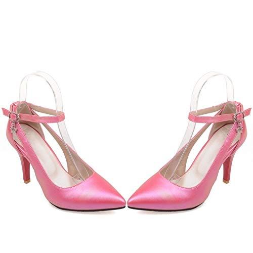 andalen Plus Große Größe 34-52 Schuhe Frau Neue Hochzeit Damen High Heel Fashion Süßes Kleid Spitz Frauen Pumpt 16 Rote Rose ()