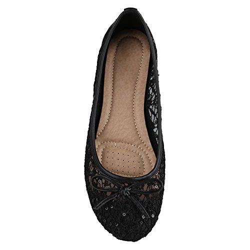 Übergrößen Flats Schuhe Lederoptik Schwarz Freizeit Spitze Ballerinas Klassische Damen qWYntwH
