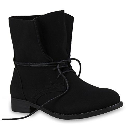 Schwarzen Kostüm Leder Alle (Damen Desert Boots Schnür Camouflage Stiefeletten Leder-Optik Blockabsatz Booties Muster Schuhe 131187 Schwarz All 36 |)