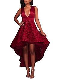 HaiDean Vestito Donna Eleganti da Sera Lunghi Giovane Hippie Pizzo Abiti da  Cerimonia Smanicato V Profondo da0cab01220
