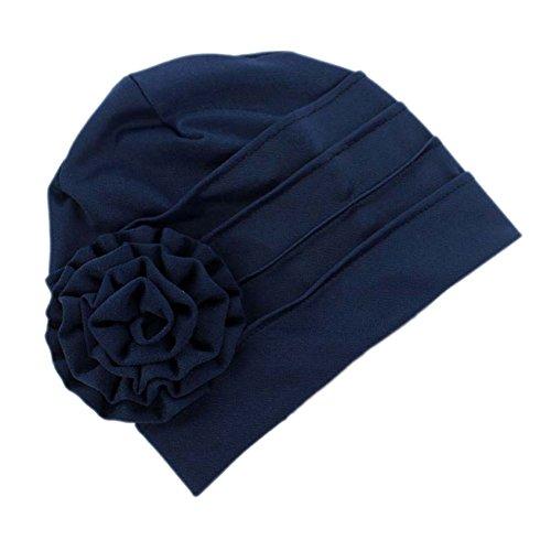 iShine Kopftuch Weiblich Elastische Hut Islamischen Muslim Turban Frau Kappe mit Blumen Stirnband Baumwolle Spandex Größe Verstellbar für Haarausfall Krebs Chemo Dunkelblau (Afrikanische Hüte Für Frauen)