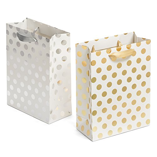 Haute Soiree Hochwertig Weiße Geschenktüten mit Gold Punkte und Silber Punkte Design - 12 Stück