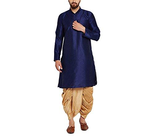 Sojanya Herren Royal Blue Und Gold Dupion Seide Dhoti Kurta Set Ethnische Kleidung (Seide Kurta Set)