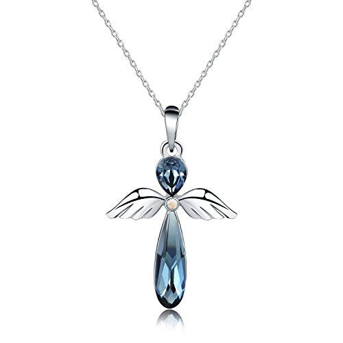 HERLINA Glück Engel Anhänger Halsketten Ketten für Damen Hergestellt mit Swarovski Kristall Schmuck, Kette 18 Zoll (Blau)