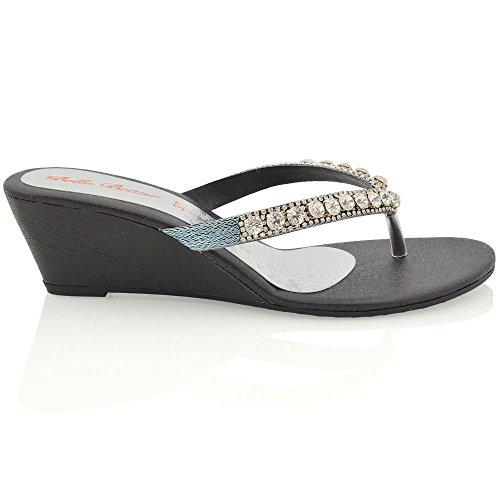 Essex Glam Damen Keilabsatz Zehentrenne Thong Sandalen mit gehäuften Schmucksteinen Schwarz