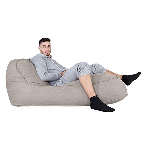 Lounge Pug®, Pouf Chaise Longue (2 Personnes), Stonewashed Gris