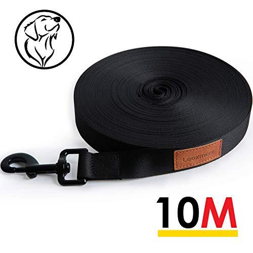 Looxmeer Schleppleine für Hunde, 10m / 20m Robuste Hundeleine Übungs- & Trainingsleine mit Handschlaufe, D-Karabiner und Aufbewahrungsbeutel, Schwarz