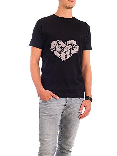 """Design T-Shirt Männer Continental Cotton """"CatHeart"""" - stylisches Shirt Tiere Liebe von Judith Loske Schwarz"""