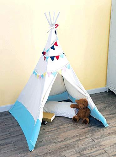 eLim Tipi Zelt für Kinder, Indoor und Outdoor Spielzelt mit 4 Faltbaren Stöcken, weiß-blauem Aqua-Stil Teepee Zelt (Weiß Blau) (Weiß Und Aqua Vorhänge)