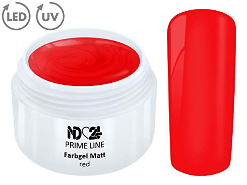 5ML - PRIME LINE - UV Gel Farbgel MATT LOOK RED French Color Mattes Finish Versiegler Rot Nail Studio Qualität - MADE IN GERMANY