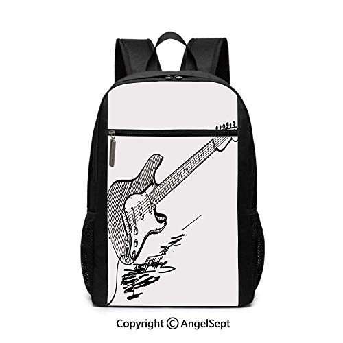 Hand Drawn Electric Guitar on White Backdrop Rock Music Accords Sketch School Backpack -