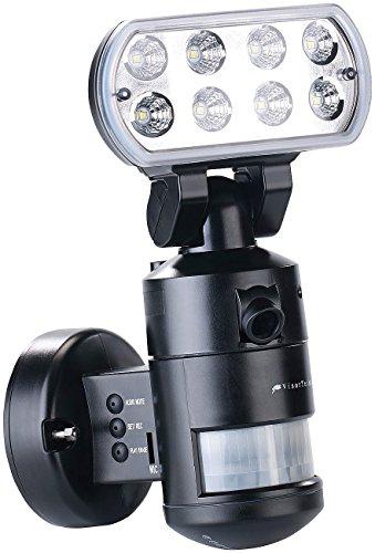 VisorTech Außenleuchte Kamera: HD-IP-Kamera m. LED-Flutlicht, 8 W, Bewegungsverfolgung, SD-Aufz, App (Aussenleuchte mit Funkkamera)