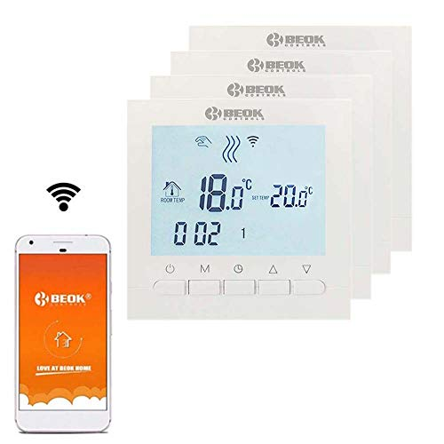 Beok BOT-313 WiFi-Thermostat Für Gaskessel, Programmierbar, LCD-Raumthermostat, Stromversorgung, Online-Steuerung über Smartphone, AC220V 3A, Weiß,Packung Mit 4