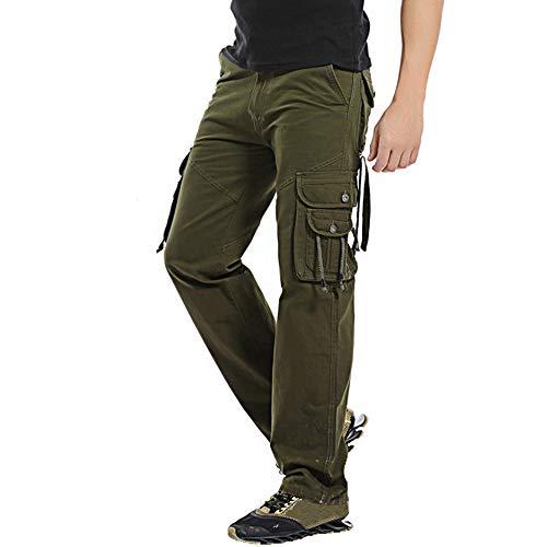 UJUNAOR Herren Cargo Hosen Baumwolle im Freien Beiläufige Plus Größe Multi-Tasche Lose Arbeitshosen(Armygrün,EU 42/CN 28)